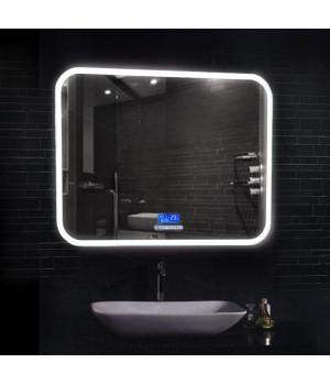 Зеркало в ванную комнату с подсветкой, часами и музыкой Армани 80х60 (800х600)